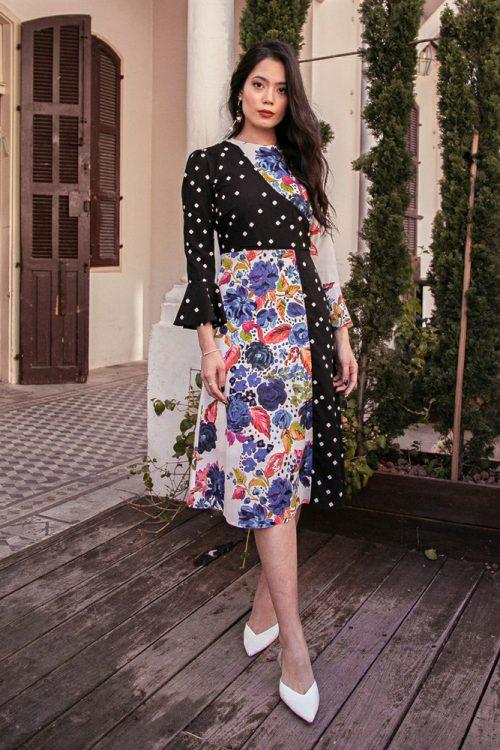 שמלת פלורל נקודות בהדפס משולב