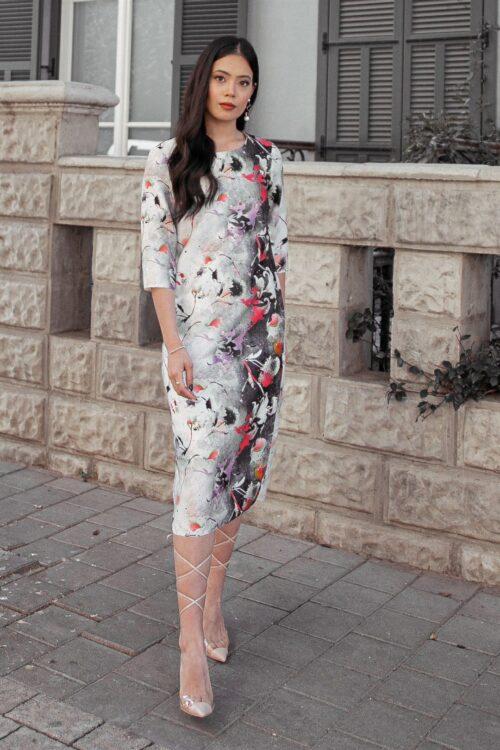 שמלת גוונים גיזרה ישרה