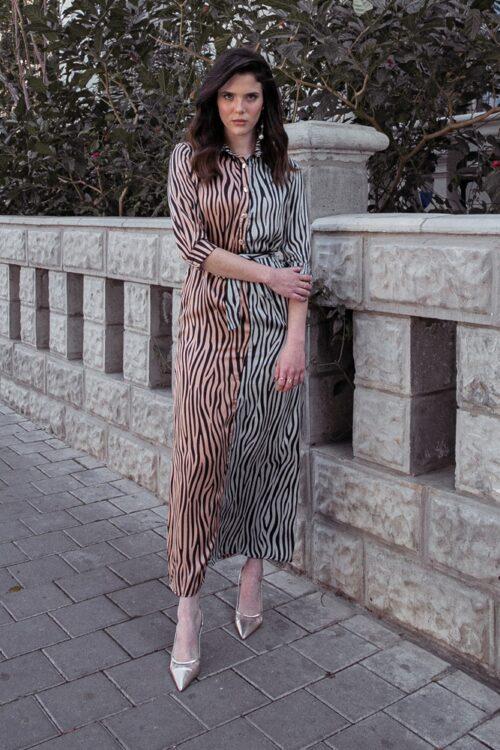 שמלת טייגר מקסי בהדפס משולב