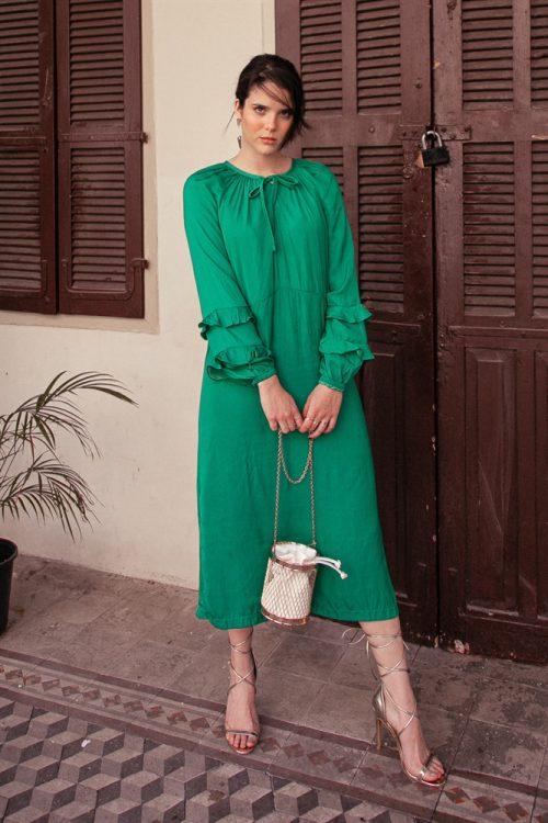 שמלת גרין שרוולי מלמלה