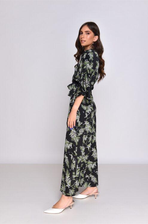 שמלת מעטפת מקסי בהדפס עלים