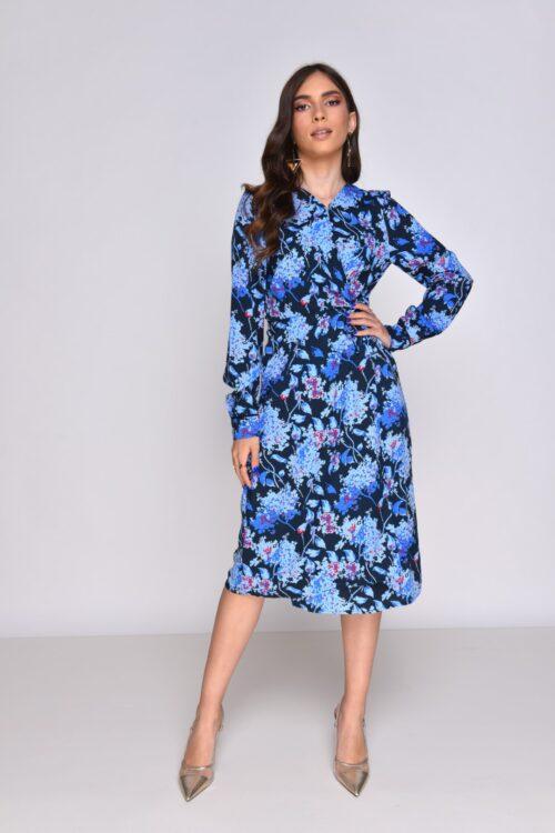 שמלת מעטפת כחול פלורל