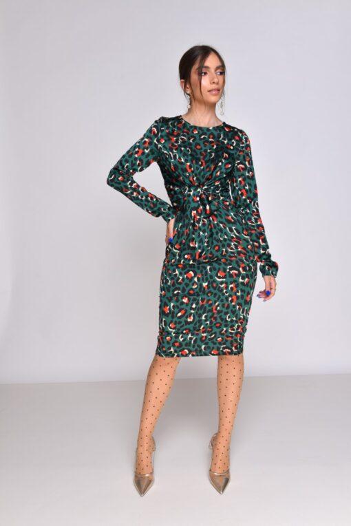 שמלת סאטן ירוק מנומר