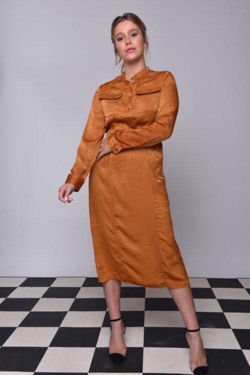 שמלת ברונז עם כפתורים בחלק העליון