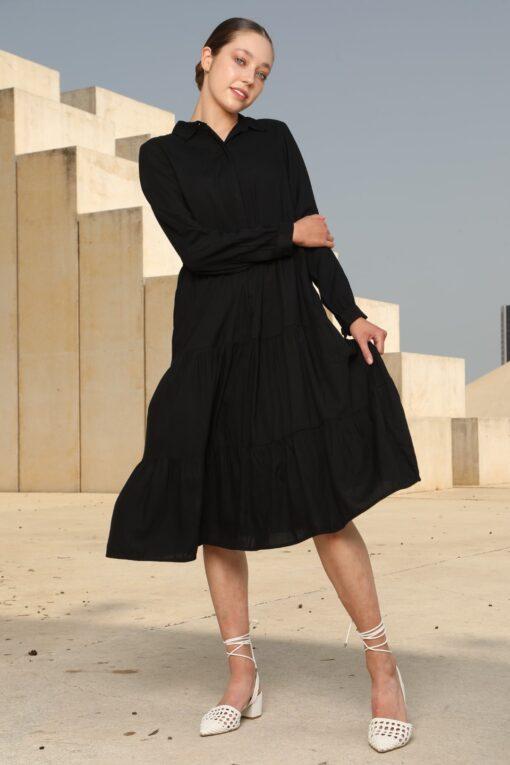 שמלת אוברסייז שחור קומות