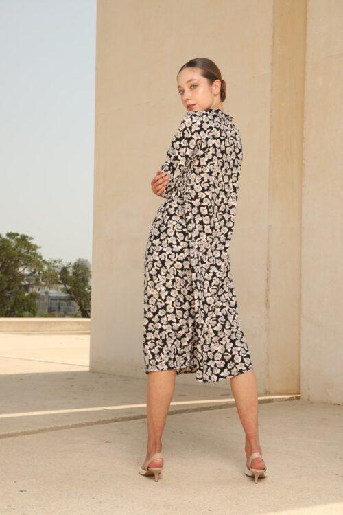 שמלת כיווצים בהדפס וינטג' פרחוני