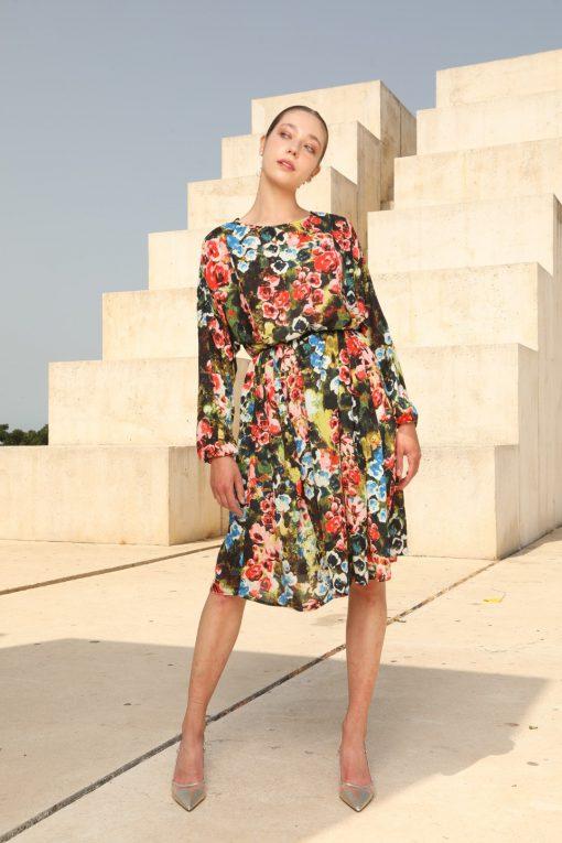 שמלת שיפון אוברסייז בהדפס פרחוני