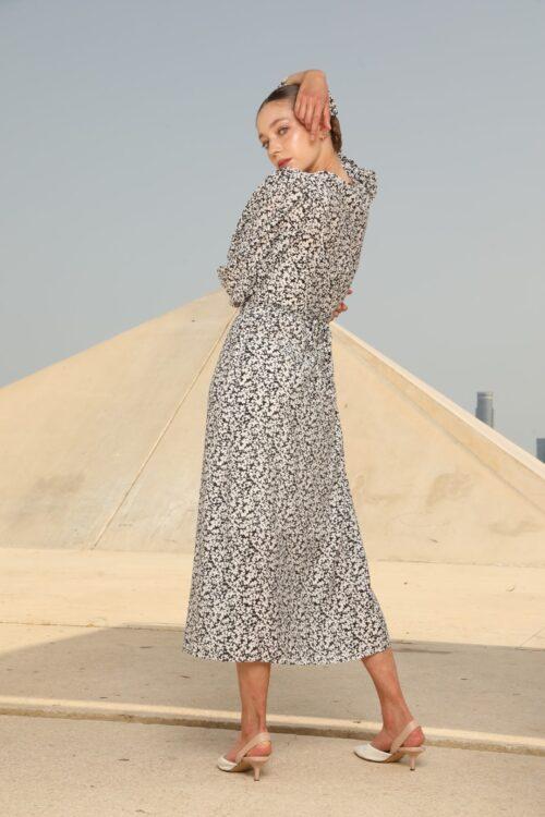 שמלת מעטפת אנג'ל שרוול נפוח