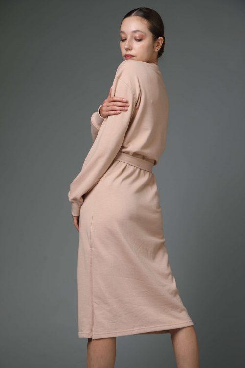 שמלת פוטר אפרסק עם קשירה במותן