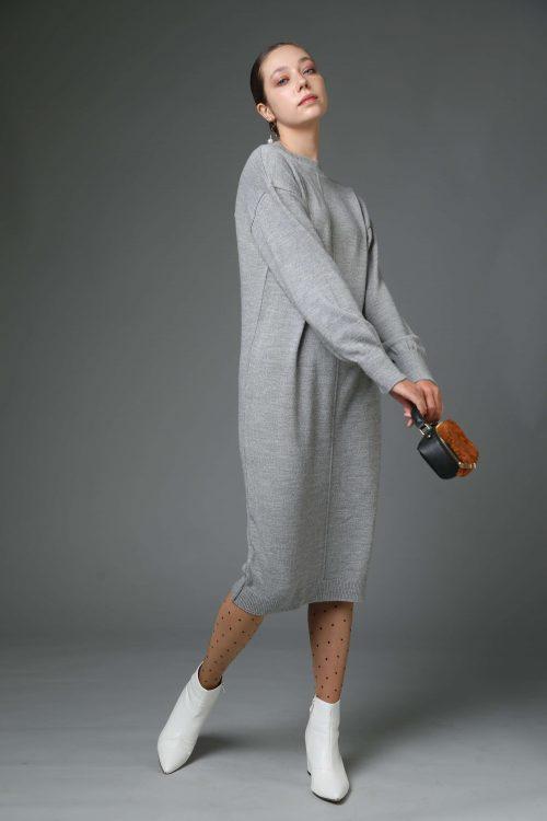 שמלת סריג אוברסייז אפורה