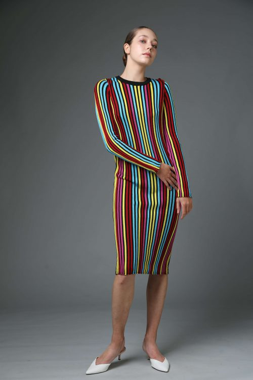 שמלת סריג פסים צבעוני