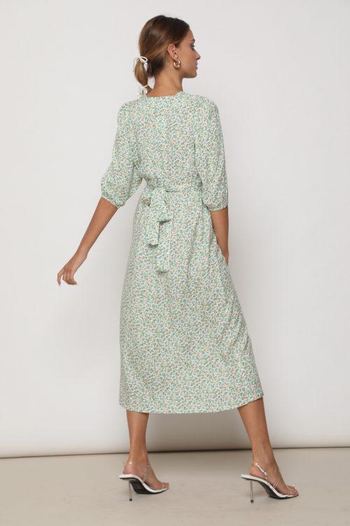 שמלת לוסי אורך 3/4 וקשירה קדמית, בהדפס פרחים ירוקים