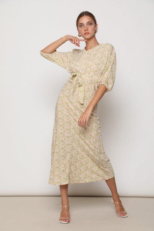 שמלת בל אורך 3/4 וקשירה קדמית, בהדפס דייזי
