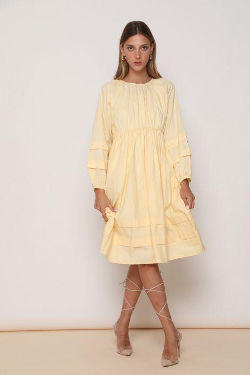 שמלת קנדי גיזרה מתרחבת עם חיתוך מותני גבוה - צבע צהוב