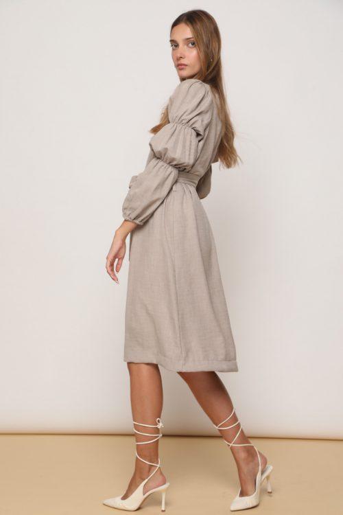 שמלת אליס כיווצים בשרוול ואופציות קשירה - בראון