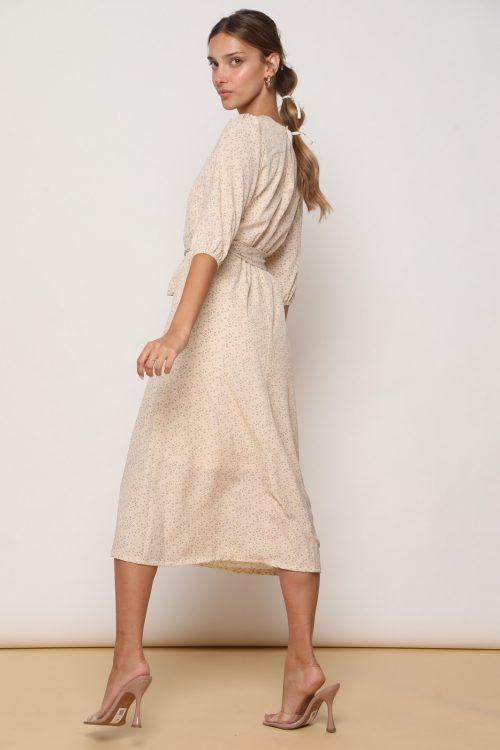 שמלת לוסי אורך 3/4 וקשירה קדמית, בהדפס פלורל ניוד