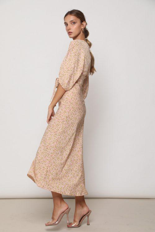 שמלת בל אורך 3/4 וקשירה קדמית, בהדפס וינטג' פיץ'